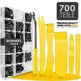 Befestigungsclips Auto + Auto Demontage Werkzeuge Set von SCHMITZ.Tools [700 Teile] Hebelwerkzeug Auto - Kfz Werkzeug - Auto Zubehör Innenraum - Auto Clips - Klips - Spreiznieten - Befestigung Clips